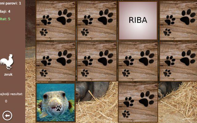 Memori sa životinjama za učenje hrvatskoga jezika