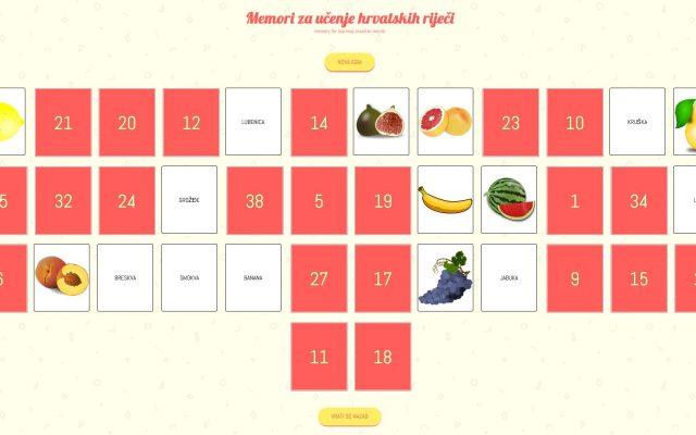Memori za učenje hrvatskih riječi